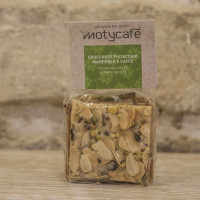 Crunchy nougat with almonds, pistachio and coffee bean